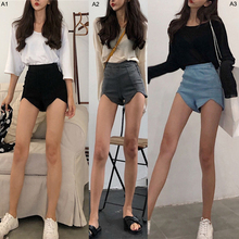 Summer Fashion womens Retro Stretch Shorts Women Slim High Waist Jeans Irregular Denim Sexy Tassel Ripped