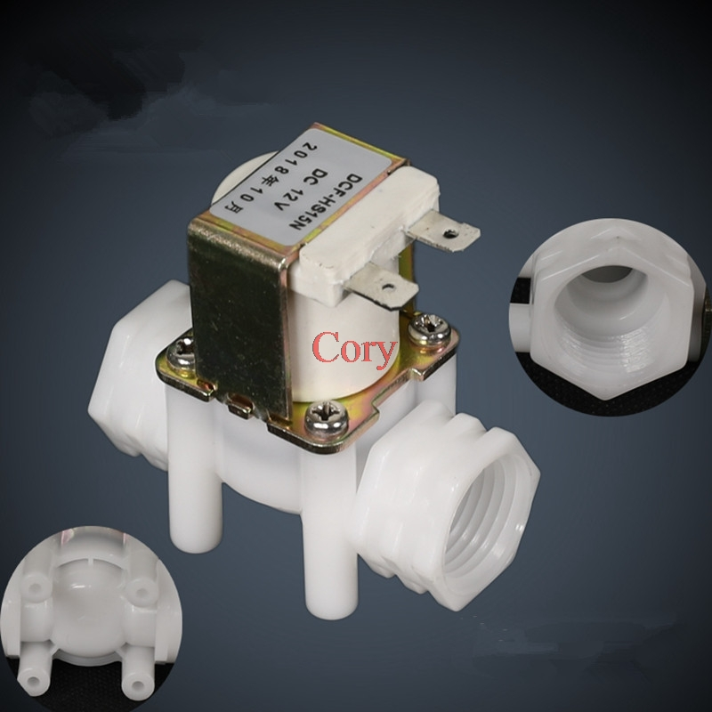 1PC Plastic solenoid valve DN15 G1/2 Female Thread DC 12V DC 24V AC 220V Normal closed Normal Open Without Check/Filter function
