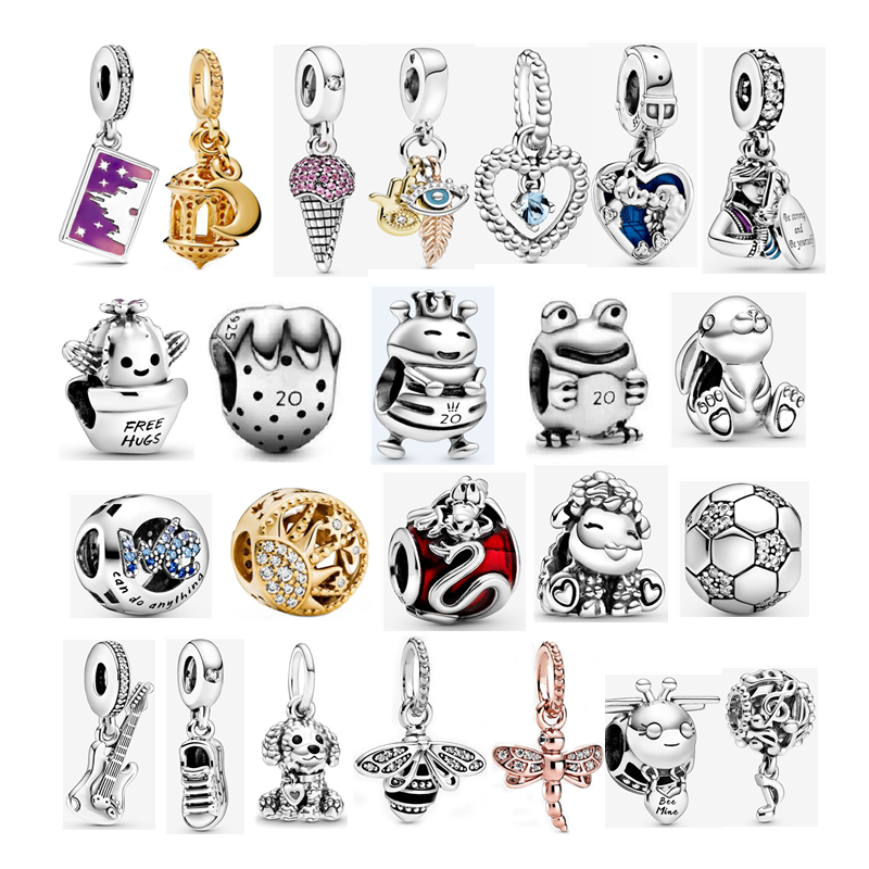 2020 New Original 925 Sterling Silver Bee Frog Sheep Icecream Strawberry Mulan Beads Charms Fit Pandora Bracelet DIY Jewelry