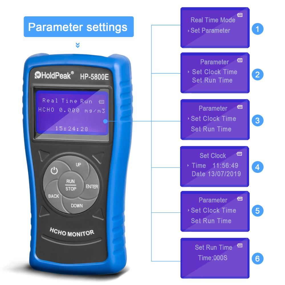 Detector de Monitor de formaldehído Holdpeak 5800E con luz de fondo y apagado automático para pruebas medioambientales en interiores y exteriores - 5