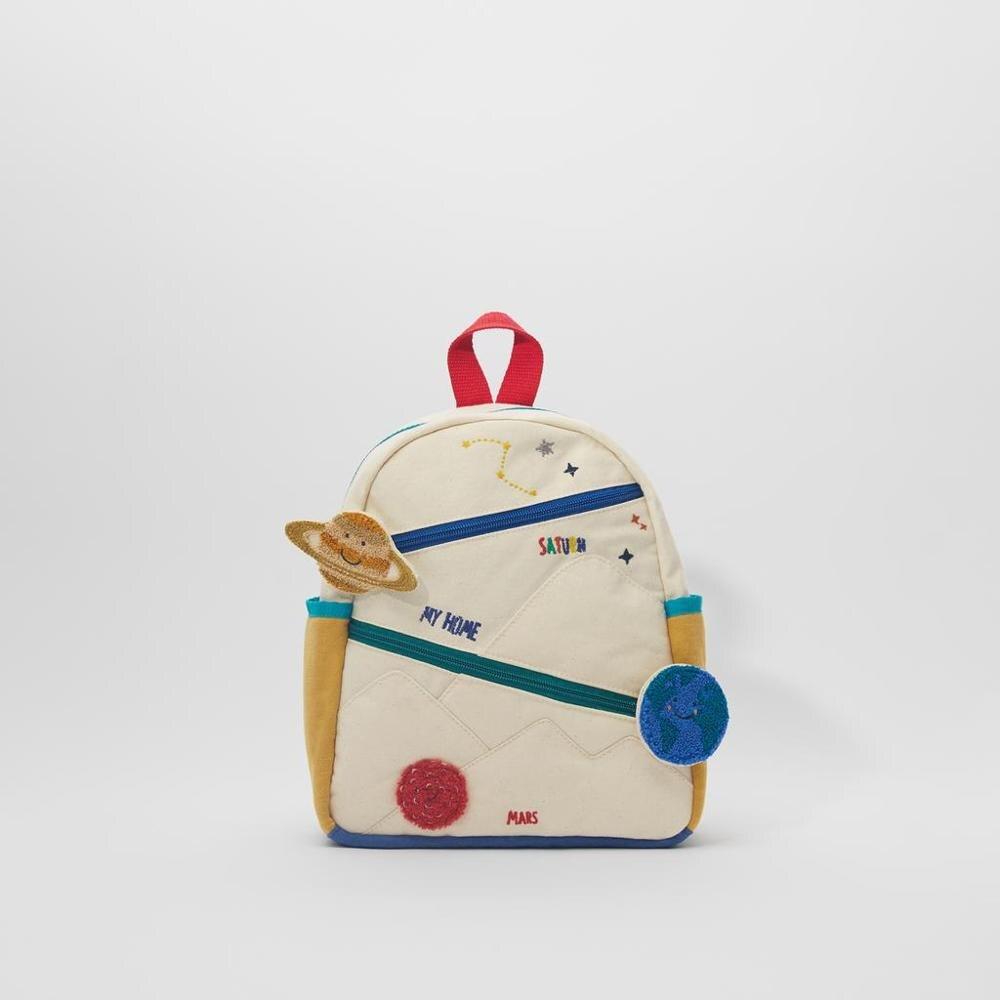Новый детский хлопчатобумажный холщовый рюкзак с вышивкой земля Звезда шар милая девушка цвет сочетается Повседневная маленькая школьная сумка-0