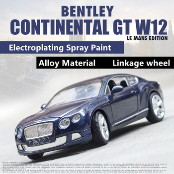1:24 Bentley Continental GT W12 alloy car model steering wheel linkage children's toys collection gift pull-back vehicle large aston martin v12 vantage car model 1 18 alloy diecast car model steering wheel linkage the two front wheel collection toys