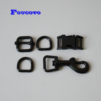 20 sets Metal release buckle D rings hardware 15mm webbing for dog collar leash pet lead adjuster clip clasp DIY accessories