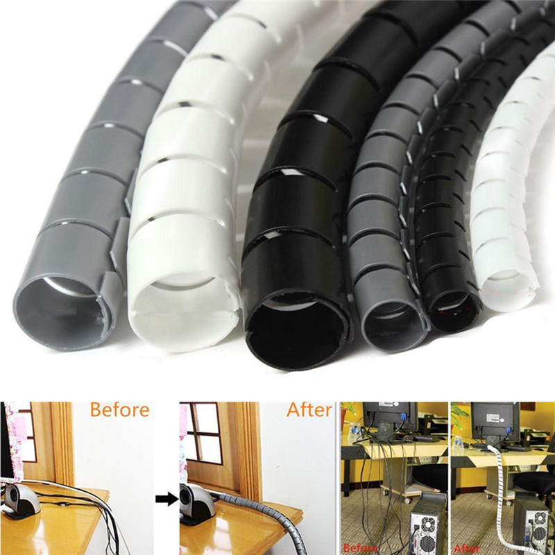 Cable Tidy Wire Set PC TV Organising Band Wrap Cover Spiral Tube Home Office 2M