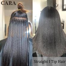 Hair-Extenstions Human-Hair Microlinks Bulk Straight-I-Tip Brazilian Black 3-Bundlesfor