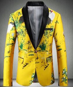Желтый пиджак, роскошный мужской блейзер с принтом, приталенный, Цветочный, Мужская одежда для сцены, Блейзер, стильный, вечерние, свадебный ...