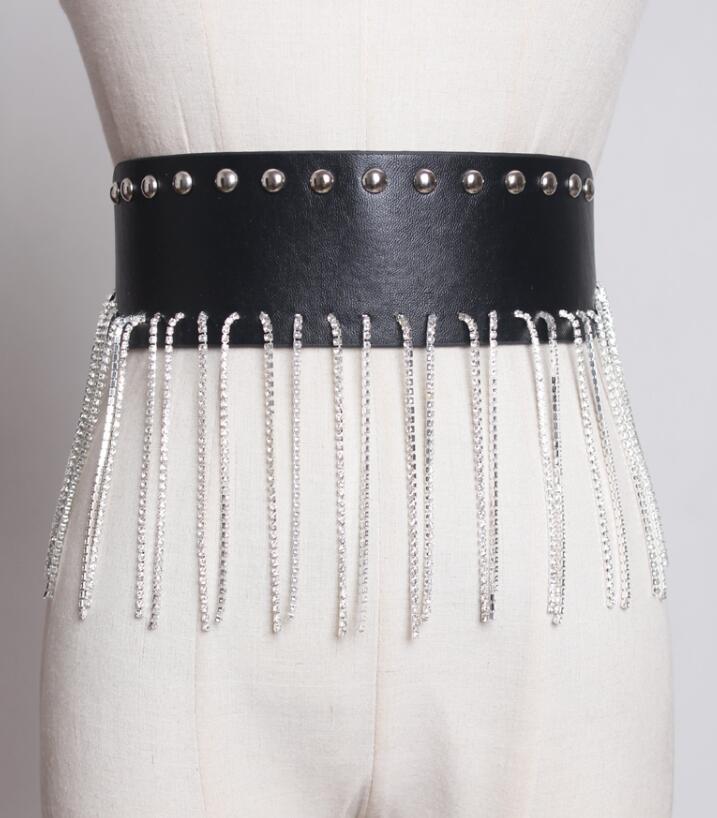 Women's Runway Fashion Diamonds Tassel Pu Leather Cummerbunds Female Dress Corsets Waistband Belts Decoration Wide Belt R1841