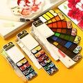 Превосходные портативные Твердые акварельные краски в наборе с ручкой для кистей для воды цветные краски пигмент для рисования Aquarelle товар...