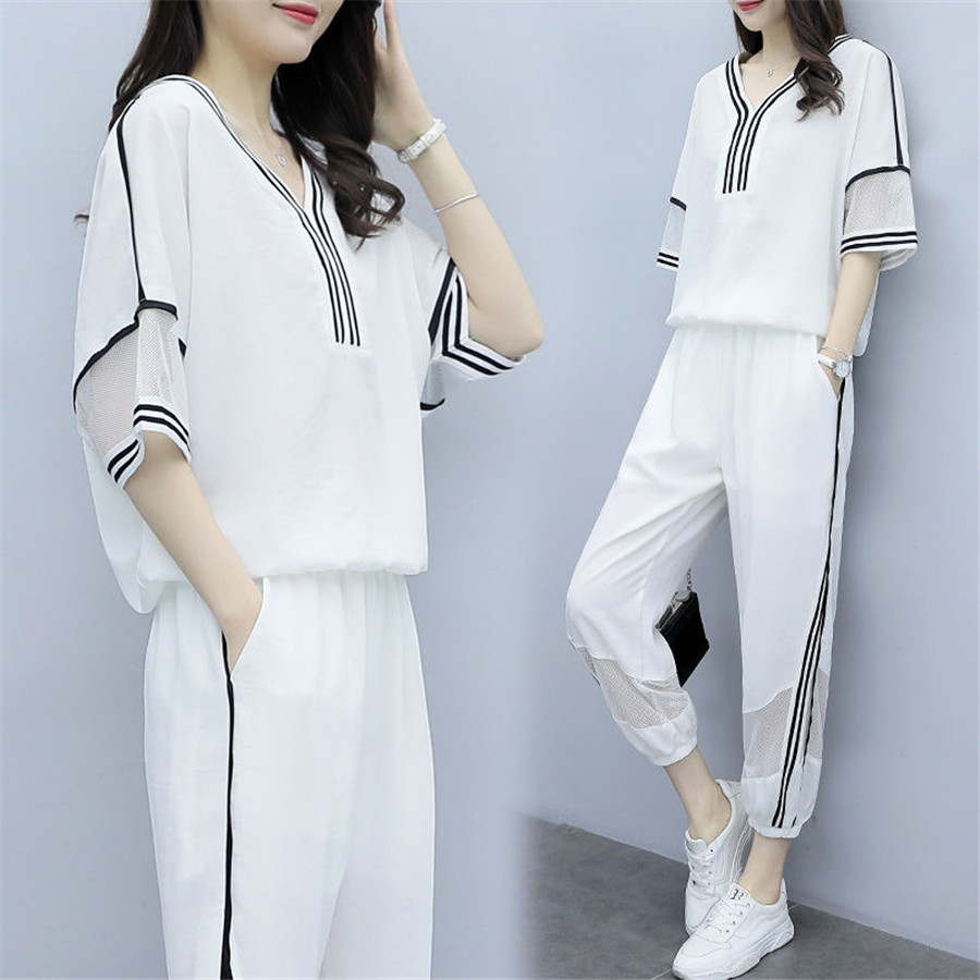 2020 Summer New Fashion Striped 2 Piece Set Women Tracksuit Short Sleeve T-shirts + Pants Sporting Wear