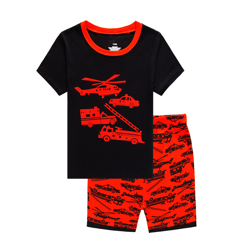 New Children Pajamas Set Boys 100% Cotton Cartoon Print Sleepwear Kids Short Sleeve Casual Home Wear