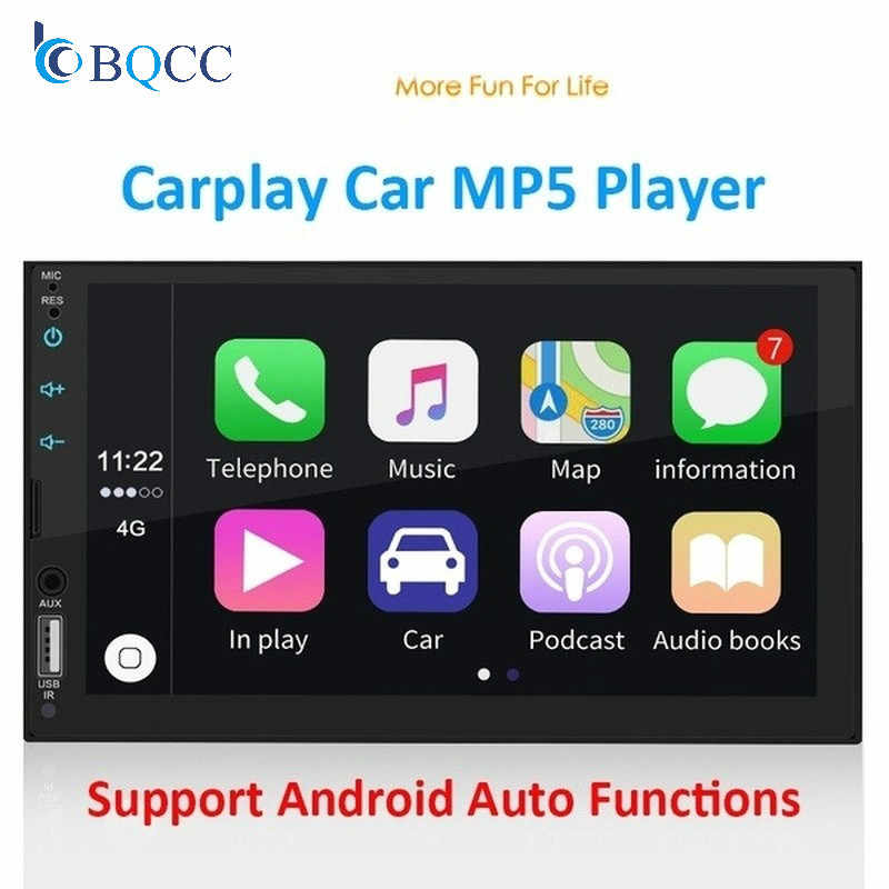 "2 Din Apple Carplay Autoradio Bluetooth Auto 7 ""Touch Screen Video MP5 Speler USB TF ISO Stereo Systeem autoradio"