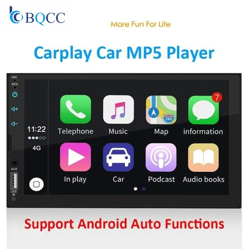 "2 Din Apple Carplay Car Radio Bluetooth Auto 7"" Touch Screen Video MP5 Player USB TF ISO Stereo System Headunit"