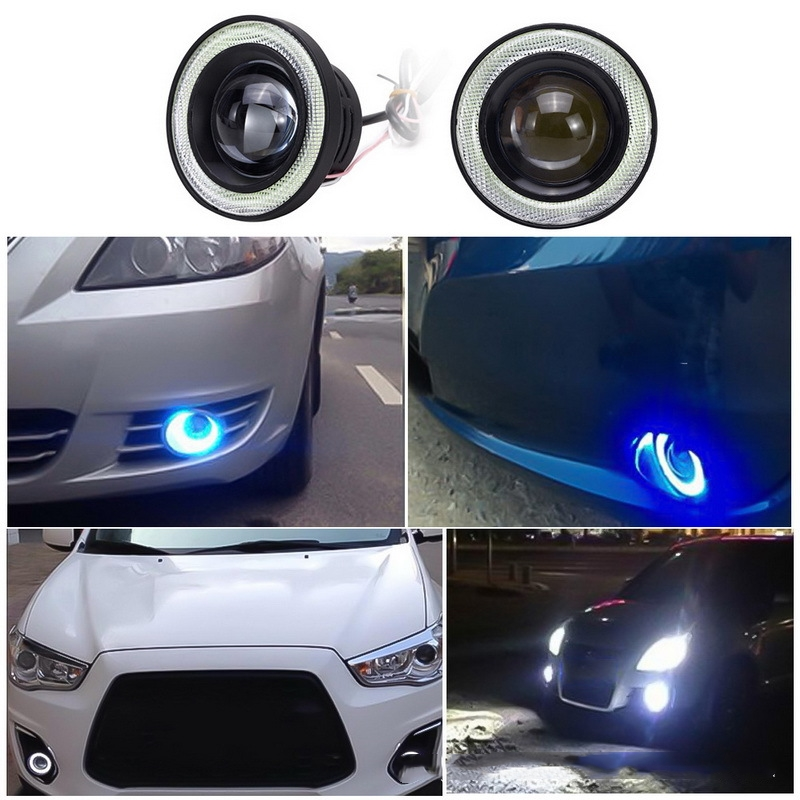 Pair 2.5/'/' 30W Car White Halo Angel Eyes Rings Projector COB LED Fog Light DRL !