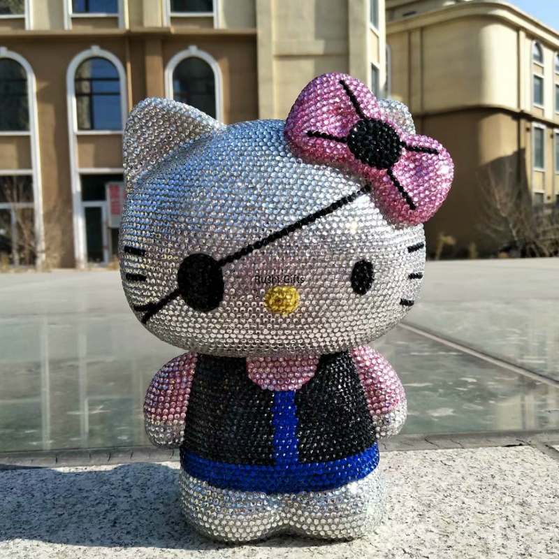 Bling Kitty Piggy Bank Lucky Cat Rhinestone Miniature Figurines Home Decoration Accessories Modern Feng Shui Kawaii Helloo Kitty