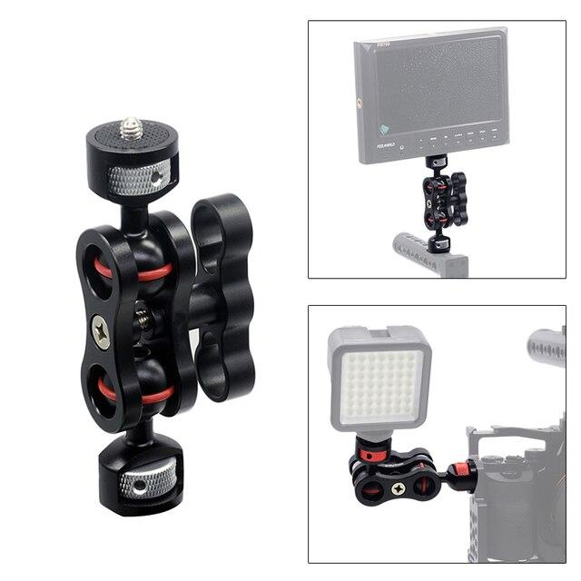 Scharnierende Magic Arm met Dual Bal Head Hot Shoe Mount 1/4 Statief Rig voor Camera Monitor LED Video Flash licht Camera Kooi