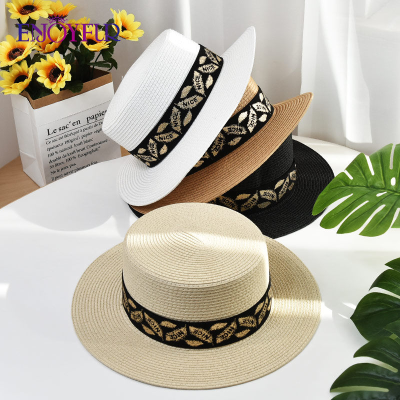 ENJOYFUR Women Summer Straw Hats Flat Top Sun Hat Fashion Ribbon Beach Caps Wide Brim UV Protection Female Formal Cap Chapeau