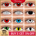 Цветные контактные линзы для макияжа на Хэллоуин для глаз аниме Crazy Cosplay цветные контактные линзы ed для глаз Призрак для макияжа зомби белые ...