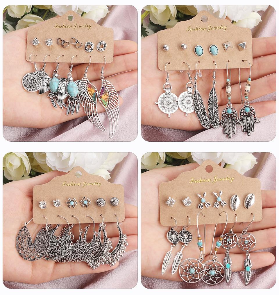 Bohemia Silver Earrings Set Vintage Ethnic Long Round Leaf Tassel Wedding Water Drop Earrings for Women Girls Statement Jewelry (173)