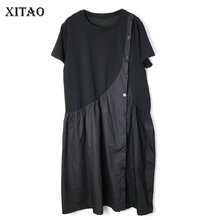 [XITAO]  2019 New Europe Casual Loose Patchwork Short Sleeve Button O neck Fashion Women Summer Knee length Dress   WBB3581