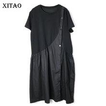[XITAO] فستان صيفي جديد للسيدات برقبة على شكل حرف o موديل WBB3581 برقبة مفتوحة فضفاض غير رسمي بطول الركبة موديل 2019