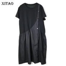 XITAO vestido informal de verano de retazos suelto, manga corta, botón, cuello redondo de moda, mujer, WBB3581, 2019