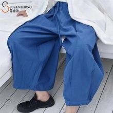 Женские брюки женские с широкими штанинами и эластичным поясом
