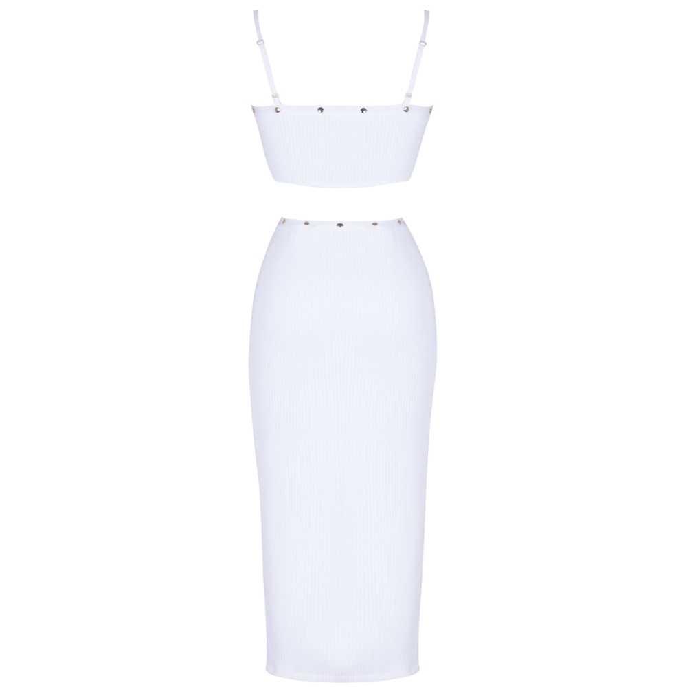 Ocstrade 2019 nouveau été blanc sangle sans manches 2 pièces perlée fendu Sexy robe de pansement PF1203-White