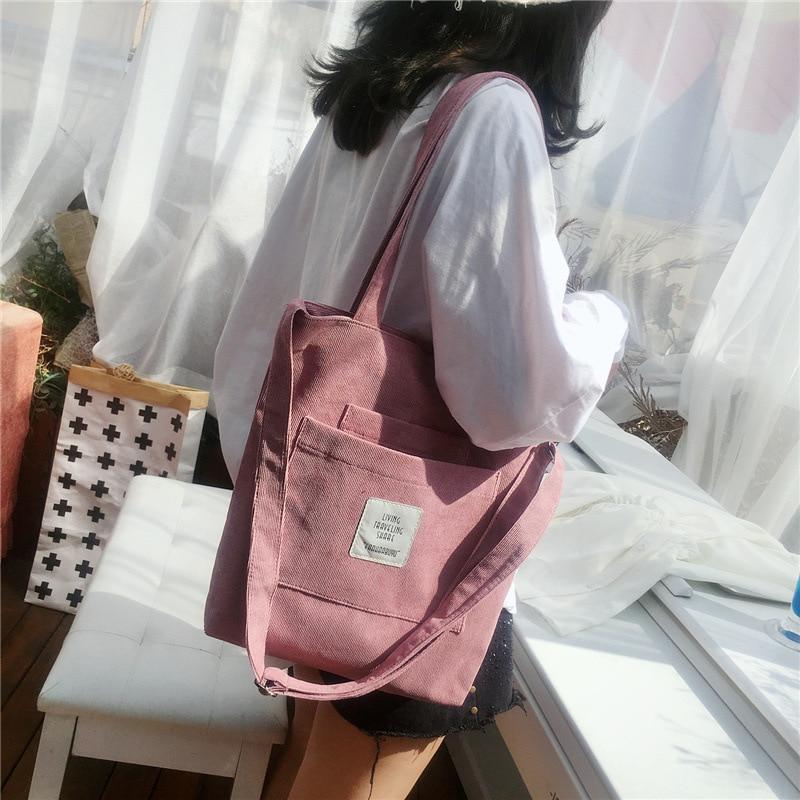 Холщовая Сумка на плечо для женщин, повседневная Вельветовая мягкая сумочка-тоут через плечо, женская сумка для книг в полоску