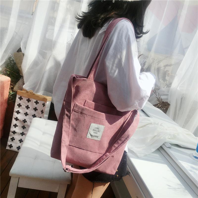 Women Canvas Shoulder Bag Ladies Casual Corduroy Tote Soft Crossbody Bags Books Bag Striped Cloth Female Handbag Shopping Bags