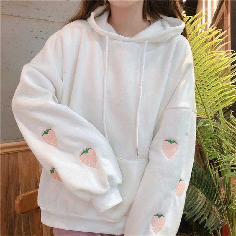 Merry Pretty Korean Fashion Ulzzang Hooded Sweatshirt Women Steawberry Embroidery Oversized Warm Fleece Hoodies Pullovers Female