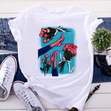 Летняя футболка с коротким рукавом топы одежда Женская в стиле