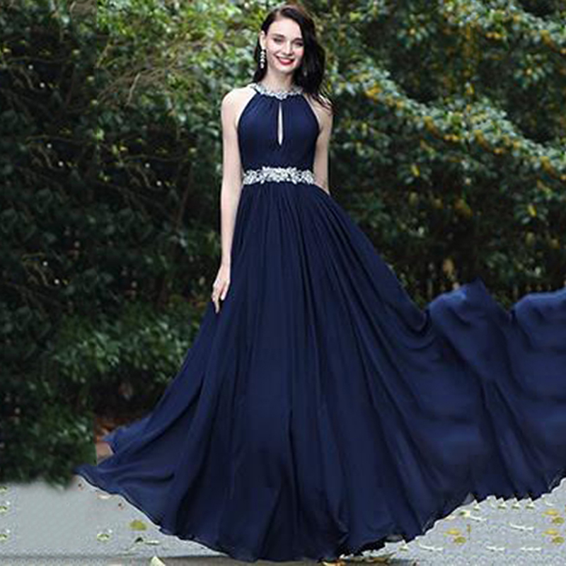 SoDigne Navy Blue Chiffon Prom Dresses Sexy Backless Beads Sleeveless Elegant Formal Evening Dress sukienki wizytowe