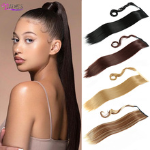 VADES Long Straight Ponytail Hair Extensions Wrap Around Hair Heat Resistant Clip in Drawstring Ponytail Hairpieces for Women