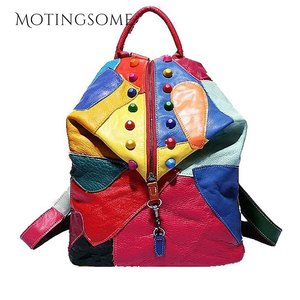 Image 2 - Genuine Leather Backpack Sheepskin Backpack Designer Travel Colorful Patchwork Luxury Shopper Bag Mochila 2020 Womens Bag Trend