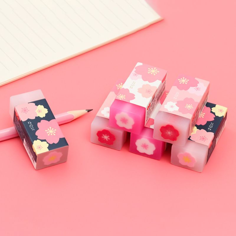 3 3 Pcs/set Lovely Cherry Blossoms Rubber Erasers Sakura Petal Sketch Painting Pencil Correction Tool School Office Stationery
