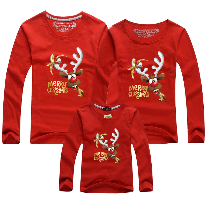 Christmas Family Matching Outfits Clothes Dad Mom Baby Long sleev T-Shirt Clothing Mother Daughter Father Son Mommy and Me Shirt