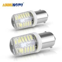 цена на AMNINGPU 2X Signal Lamp T4W Led BA9S 24SMD 3014Chips Ba9s T4W For Cars Roof lights Mirror lights License Plate Lights White 12V