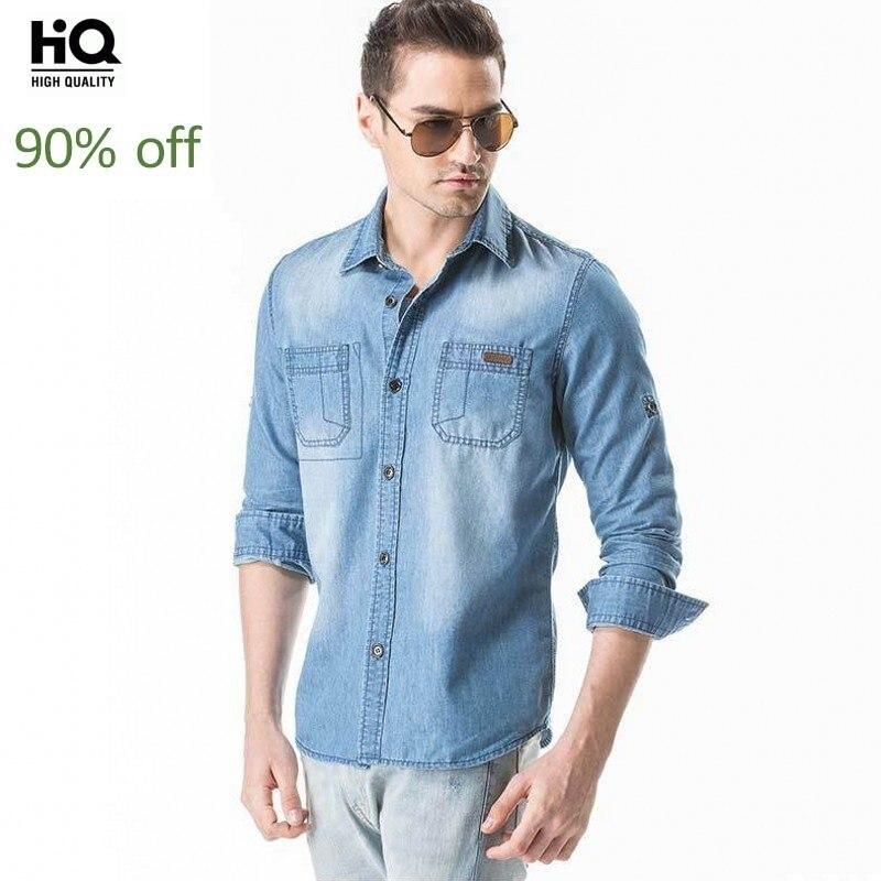 Wiosenne jesienne z długim rękawem rękaw koszula dżinsowa  VuPjd