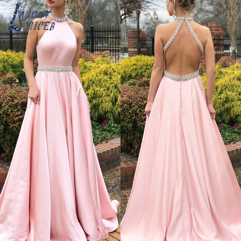 SZ008  Prom Dress 2019 Evening Dress Sexy Open Back Evening Party Dress With Beads Robe de soiree High neck