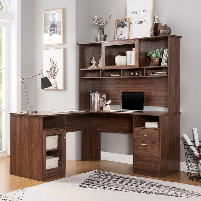 Home Office L-Shaped Desk With Hutch And Glass Doors 4