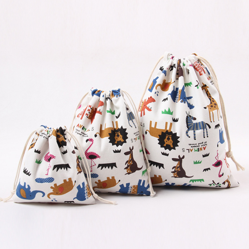 3 Pack Small Drawstrings Bags For Toys Cartoon Animals Printed Cotton Storage Bags Baby Kids Clothing Pouch Organizer