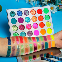 Fluorescent Makeup Eyeshadow Palette Shimmer Matte Glitter Eye Shadow 24 Pigmented Warm Colors Eyes Makeup Free Shipping TSLM2