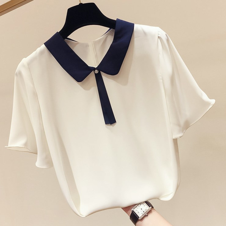 2020 Summer New Korean Temperament Thin Lapel Tie-Wrap Beaded Stitching Solid Color Women's Short-Sleeve Chiffon Shirt