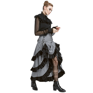Image 2 - Belle Poque Retro Women Vintage Stripe Gathered Steampunk Gothic Punk Bustle Irregular high low Skirt Fashion midi Skirt Elastic
