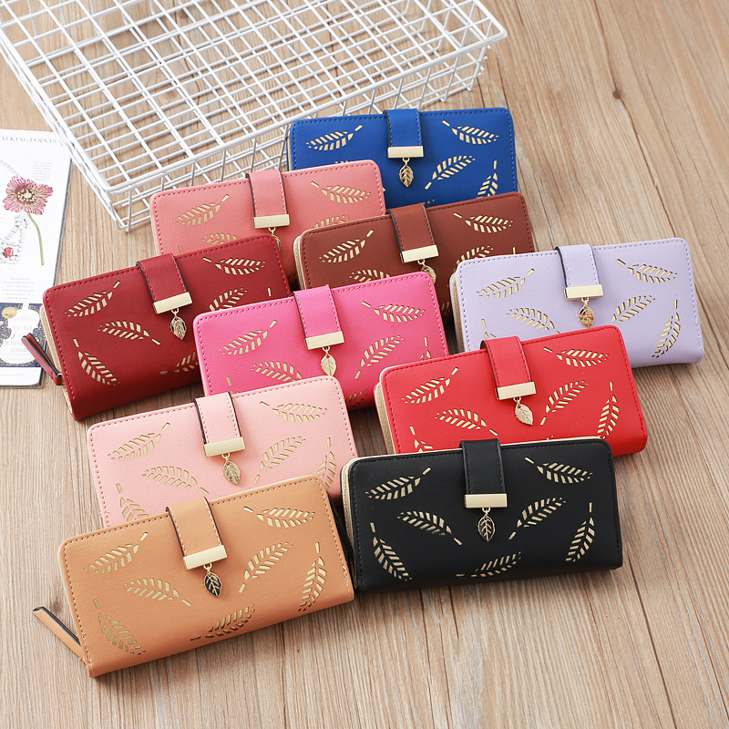 2019 Brand Leaves Hollow Women Wallet Soft PU Leather Women's Clutch Wallet Female Designer Wallets Coin Card Purse