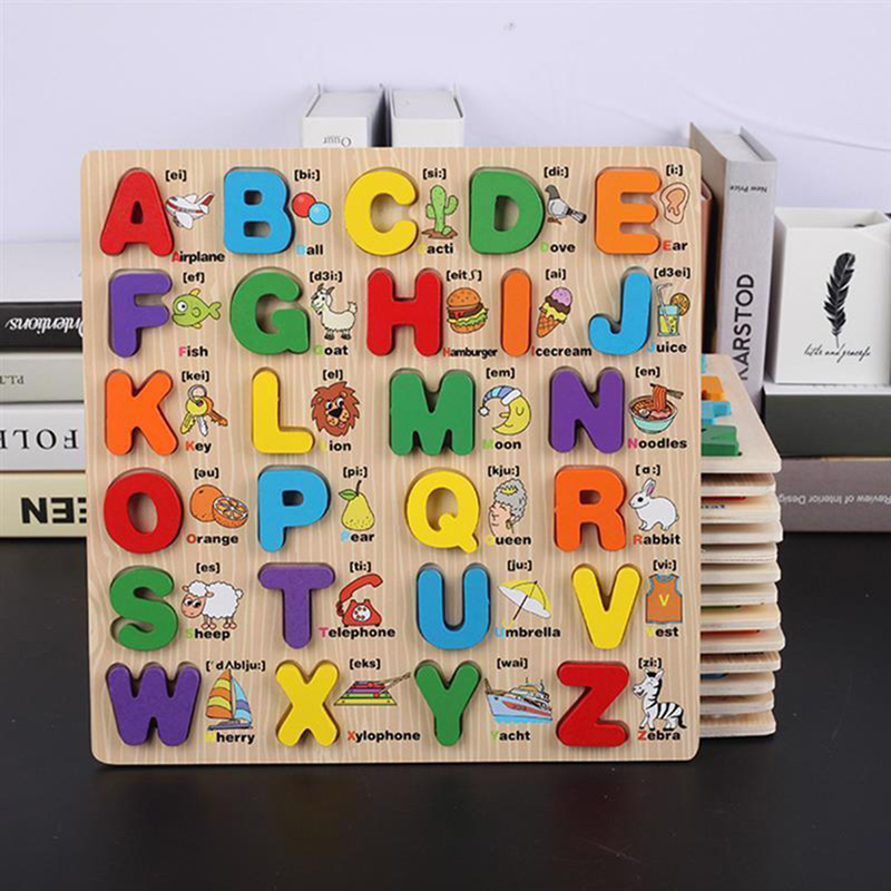 Hot Montessori Materials Capital Lowercase Alphabet Puzzle Board Language Learning Board Montessori Educational Wooden Toys