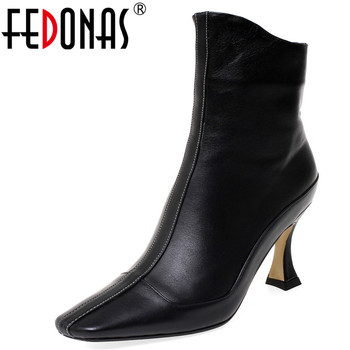 FEDONAS Quality Comfortable SheepSkin Women Ankle Boots Brand Winter Short Boots Big Size Female Party Shoes Woman High Heels