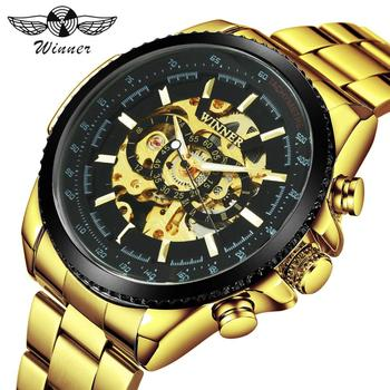 цена на WINNER Top Brand Luxury Men Auto Mechanical Watch Stainless Steel Strap Skeleton Dial FORSINING Male Wristwatch New Year Gift