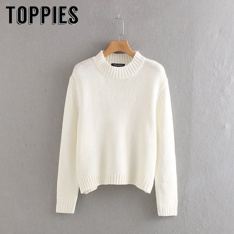 White Knitted Sweater Women Pullovers 2019 Winter Women Tops Korean Female Jumpers Solid Color Jersey