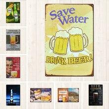 Placa de cerveza carteles de hojalata vintage Bar Pub Plato decorativo Pub Club decoración hierro vino pintura hombre cueva Cartel Bar Decoración